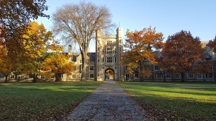 Beautiful college campus on a fall day