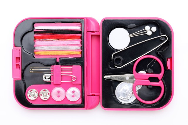 Close up of sewing Kit on white background