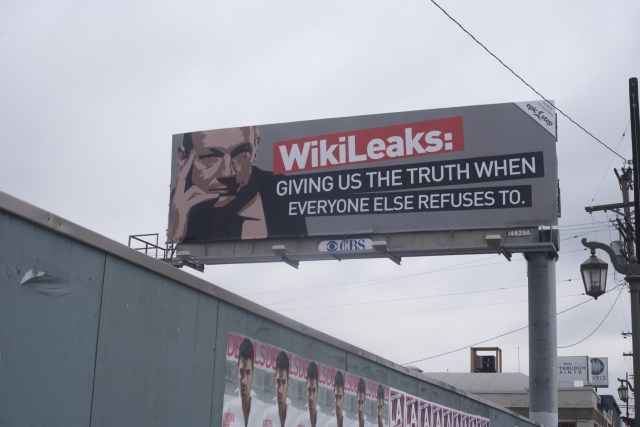 "LOS ANGELES, CALIFORNIA - APRIL 2: Wikileaks billboard of Julian Assange and ""Giving us the truth when everyone else refuses to."" on La Cienega Blvd APRIL 2, 2011 in Los Angeles."