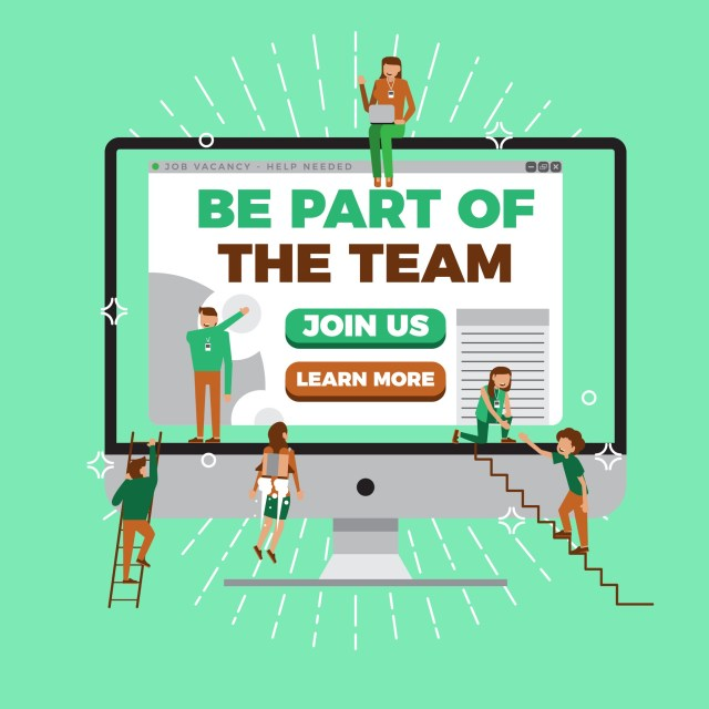 Flat design job vacancy poster, career opportunity website with multiple small people joining the team