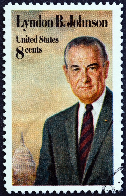 President Lyndon B. Johnson on a stamp while he served in office