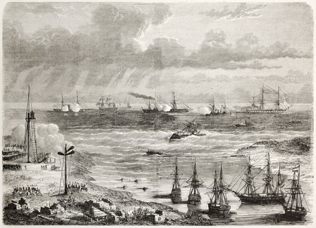 Mexican naval artillery shooting against French vessel La Lance in Tampico harbour. Tampico old view from lake bank, Mexico. Created by Lebreton, published on L'illustration, Paris, 1863