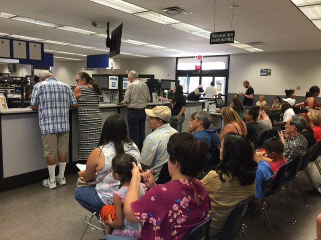A packed line at a Van Nuys, CA DMV.