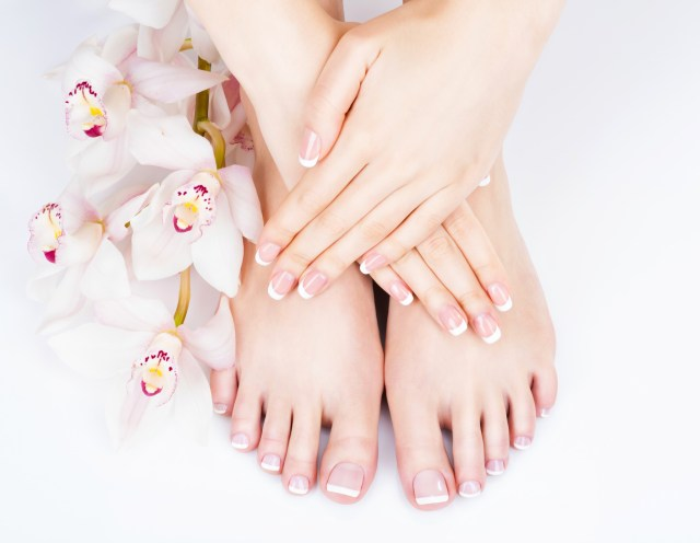 A French manicure and pedicure at the spa.