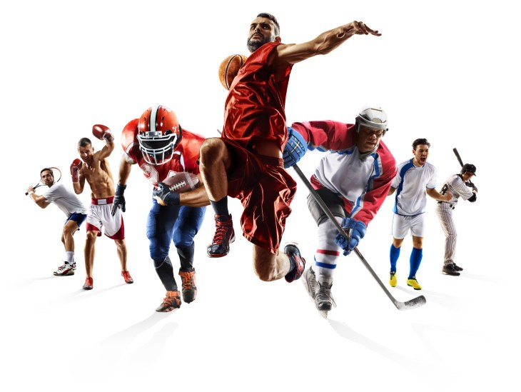 Pictures of different sports players.