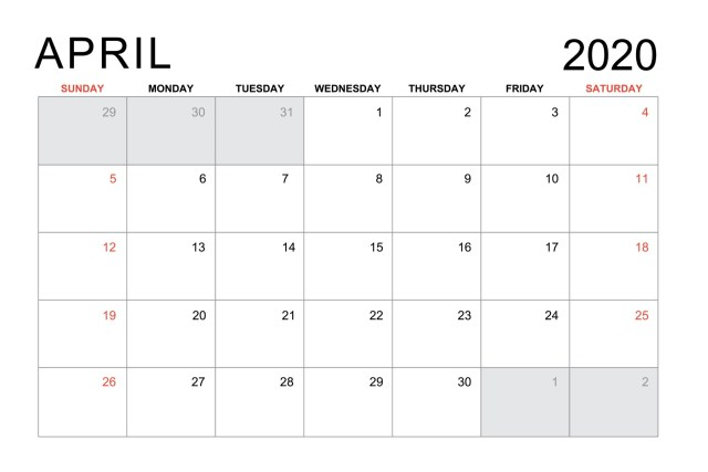 The month of April in the year of 2020 on a calendar.