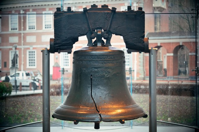 The liberty bell at Independence Hall in Philadelphia, Pennsylvania.