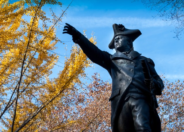 A statue of John Adams outside of Independence Hall in Philadelphia, Pennsylvania.