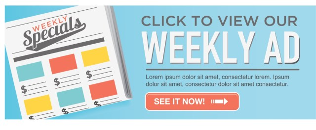 Colorful post about weekly ads for consumers