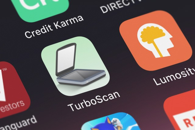 The Turboscan app on the iPhone home screen