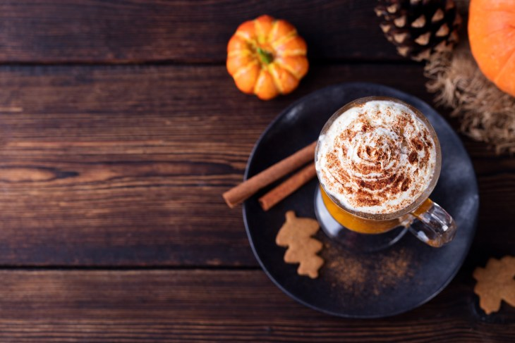 fall wooden table with holiday beverage and pumpkin and cinnamon sticks