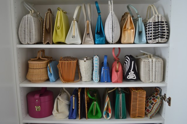 Organized colorful vintage handbag collection