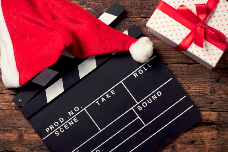 Christmas hat with film board cutout.