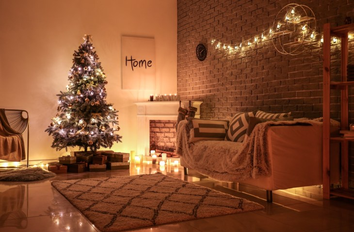 Beautiful interior of room decorated for Christmas
