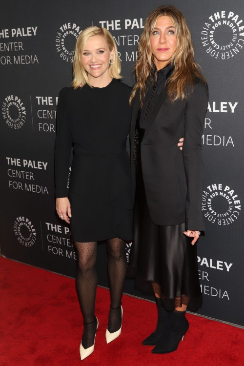 """Reese Witherspoon and Jennifer Aniston appear at a promotional event for """"The Morning Show"""""""
