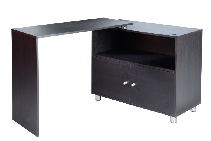 A black buffet table with an extension.