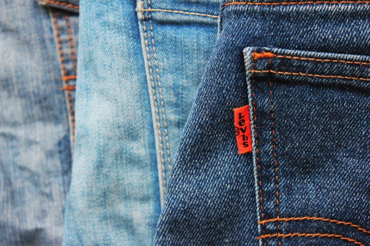 Array Of Different Colored Levi Jeans