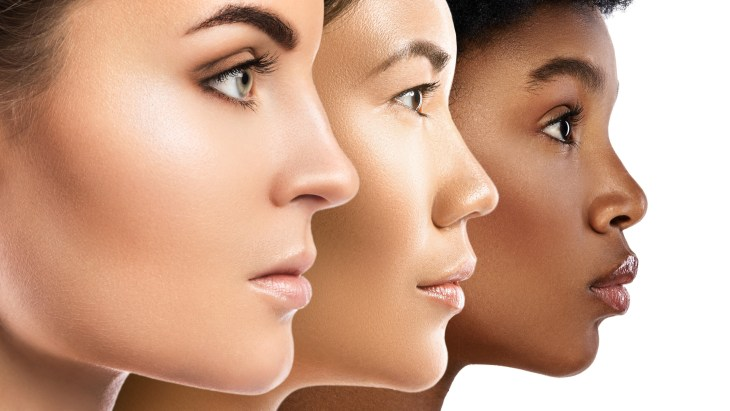 Skin tones of three different women