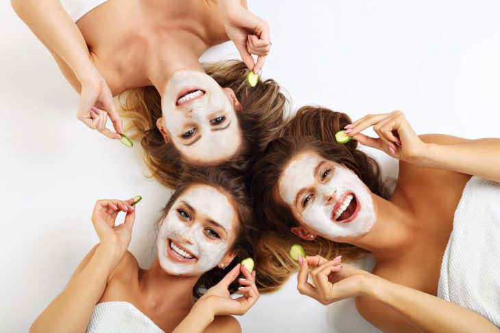 Three Girls Doing Their Skincare Together