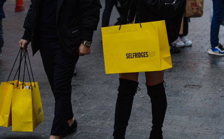 Women with shopping bags from Selfridges