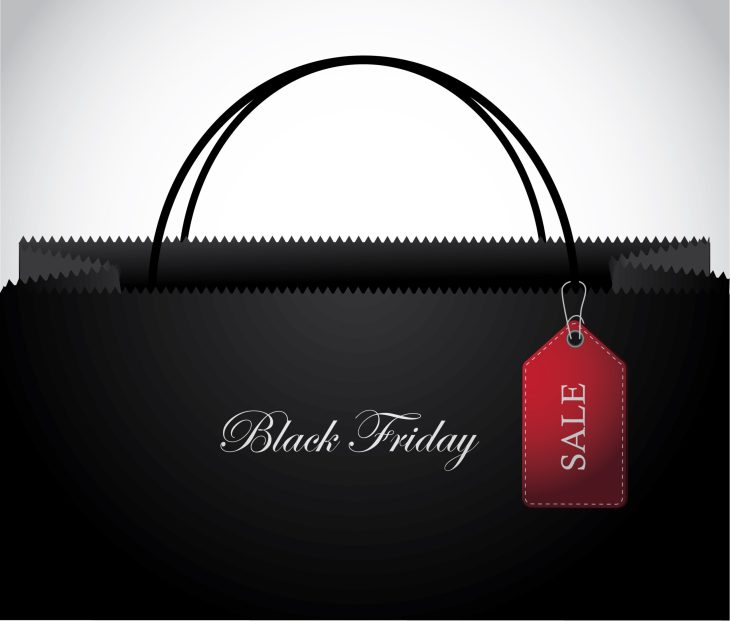 Black Friday Shopping bag with Tag Background
