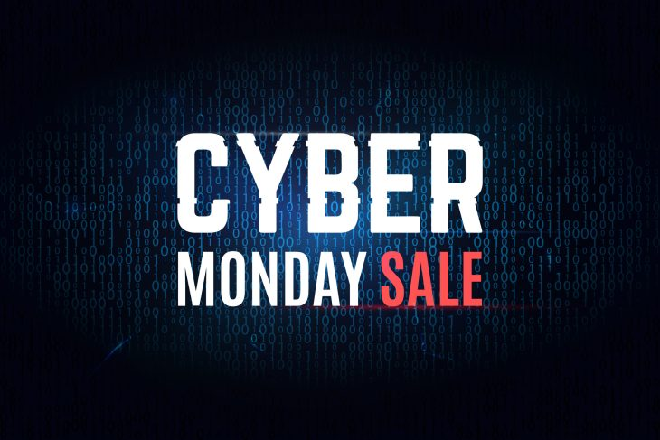 """Words """"Cyber Monday Sale"""" are all glitched and the word sale is in red letter. And the other words are in white lettering and covered in a blue afterglow."""