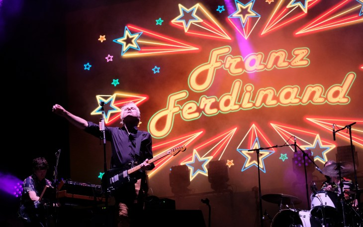 Lead singer Alex Kapranos with Franz Ferdinand performing at Victorious Festival on August 27, 2017