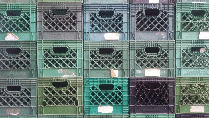 Shot of milk crates stacked up
