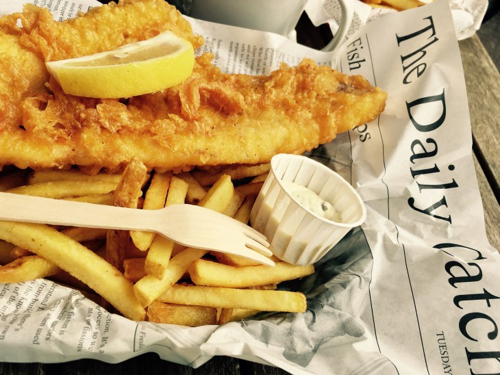 Fish and chips on a newspaper
