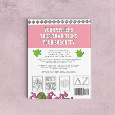 College Coloring Books Delta Zeta Coloring Book Cover - Back