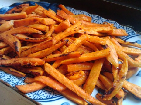 Baked sweet potato fries with honey glaze