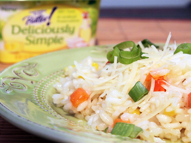 Microwave risotto with mixed vegetables