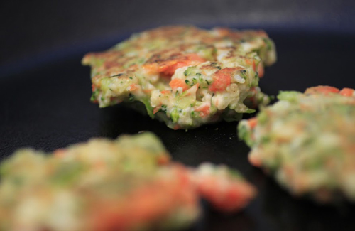 Vegetable Medley Fritters -- Broccoli, Carrot, Cauliflower Fritters via Collegiate Cook