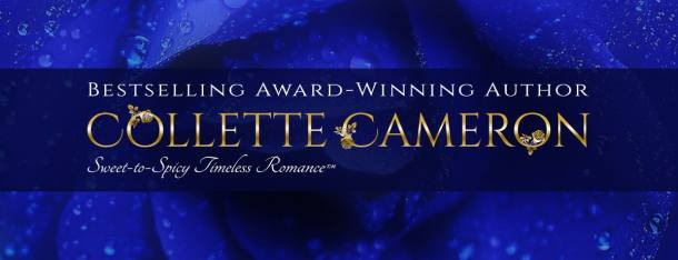 Collette Cameron website header with name and blue rose background