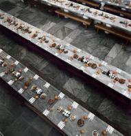 refettorio del monastero di Iviron imbandito a festa