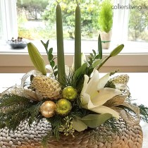 Cream and green holiday floral centerpiece
