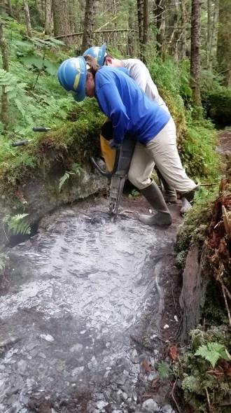 Eyak River Trail jackhammer Luke and Kelly