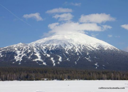 Bachelor looking over a frozen Sparks Lake.