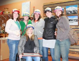 Gorgeous ladies of Bend wearing the hats that Rugged Threads designed with a collinsrocks media photo (L-R: Melissa Quinn, Andrea Quinn, Danielle Watson (Monoskiier and OAS Ambassador), Kim Kinney (owner Rugged Threads), Krystal Collins (Collinsrocks Media), and Renee Patrick (Editor, Cascade A&E)