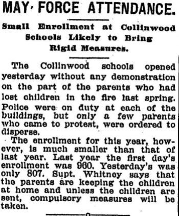 pd sep 15 1908 small parent protest at schools but vast absences-threats to enforce compulsory laws