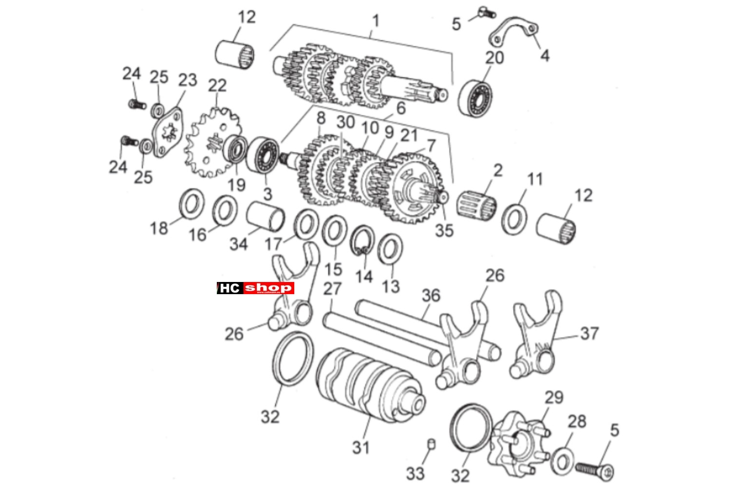 Aprilia Sx 50 E2 Motor Schaltgetriebe