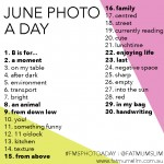 June 2013 Photo-a-Day List
