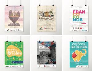 Portafolios de afiches con los que Mr. Pichón participó para poder asistir a la BID 2016.-