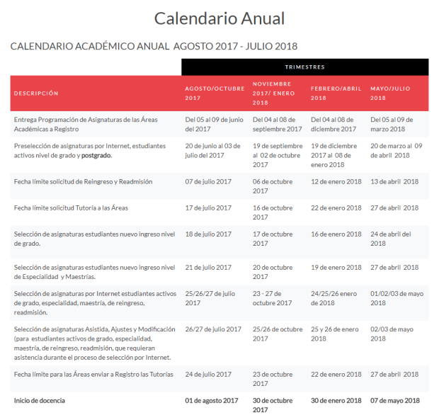 Calendario Anual Instituto Tecnológico de Santo Domingo INTEC
