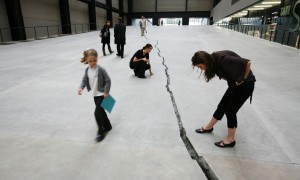 'Shibboleth', by Colombian artist Doris Salcedo. The new Unilever Series installation in the Turbine Hall at Tate Modern. 'Shibboleth' begins as a hairline crack at the west entrance to the Turbine Hall and gradually widens and deepens as it runs 167 metres to the far end of the hall. By David Levene 8/10/07