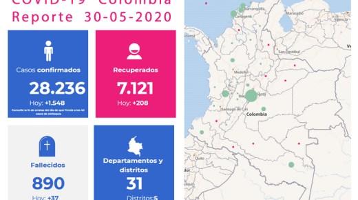Coronacijfers van 30 mei: Colombia telt nu 890 doden door het coronavirus
