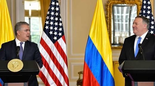 Amerikaanse minister van Buitenlandse Zaken Mike Pompeo ontmoet president Duque in Bogotá