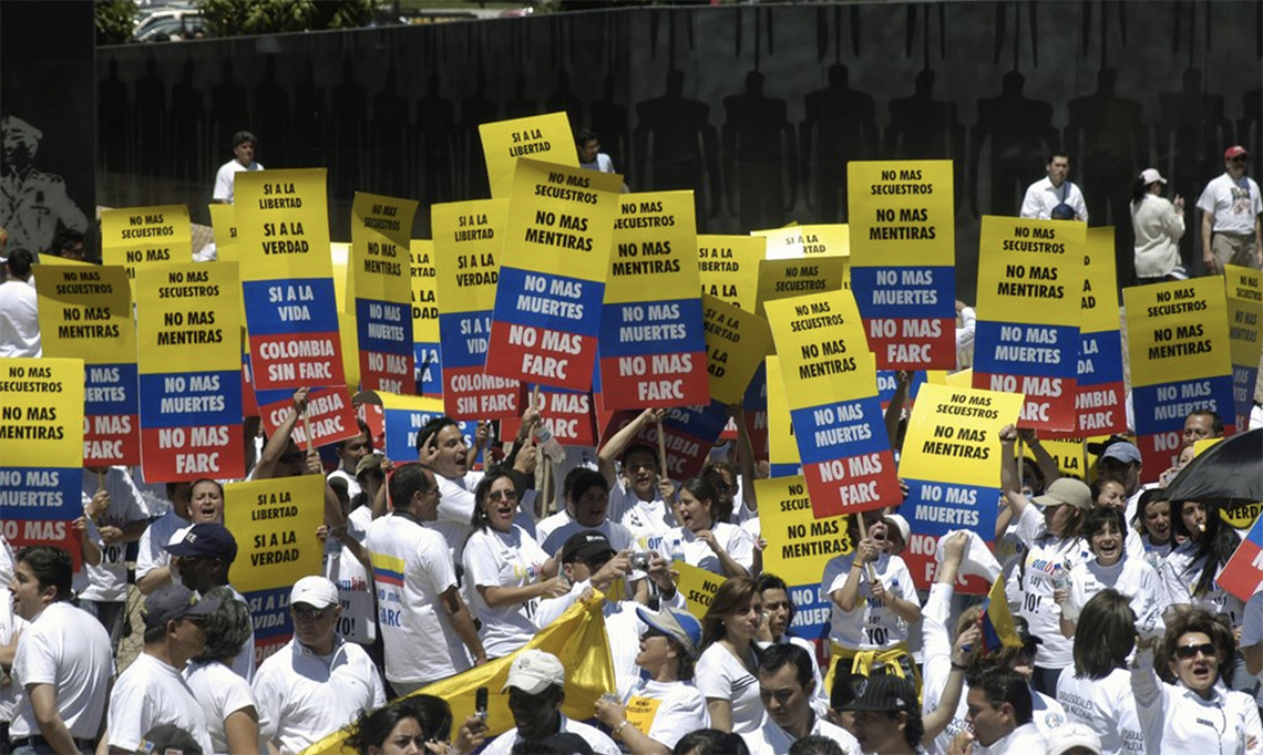 No mas Farc demonstratie Colombia