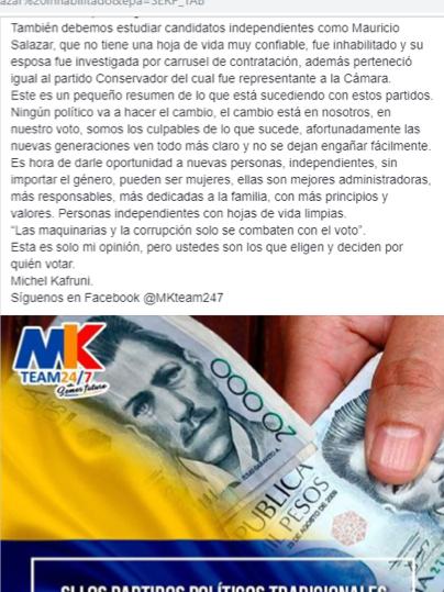 Michel Kafruni en Facebook sobre Mauricio Salazar