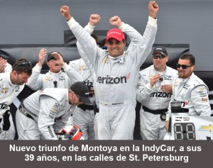 Mar 13, 2016; St. Petersburg, FL, USA; Verizon IndyCar Series driver Juan Pablo Montoya (2) celebrates after winning the Grand Prix of St. Petersburg at streets of St. Petersburg. Mandatory Credit: Jasen Vinlove-USA TODAY Sports